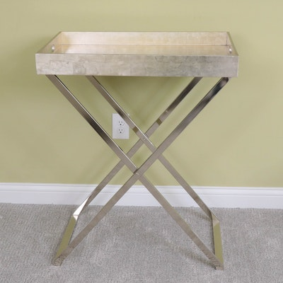 Painted Satin Finish Wood Butler's Tray Table with Chrome Stand