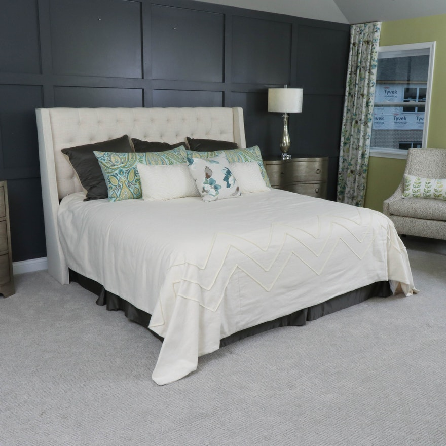 Tufted Upholstered King Size Headboard with Marquis Pillowtop Mattress