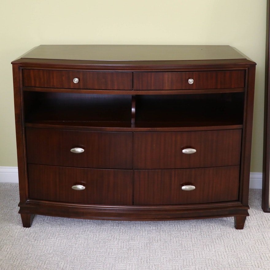 Zebrawood-Finish Bowfront Chest of Drawers