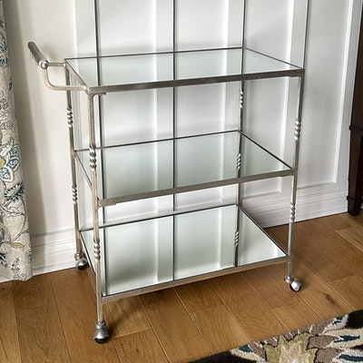 Satin Silver-Gilt Finish Metal Bar Cart with Mirrored Shelves
