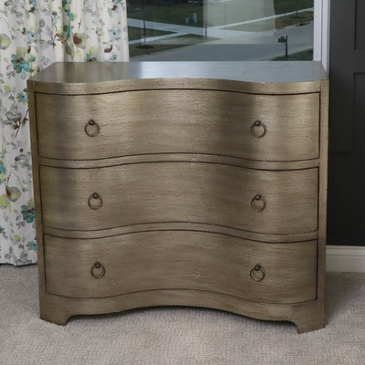 Satin Tone Serpentine-Front Three-Drawer Chest