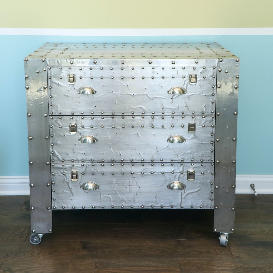 Industrial Style Silver Gilt-Wood and Metal Three-Drawer Riveted Chest