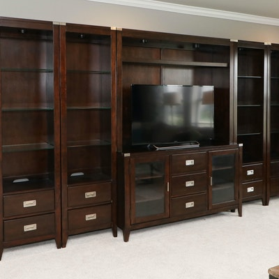 Mahogany-Stained Five-Piece Entertainment Wall Unit with Overhead Lighting