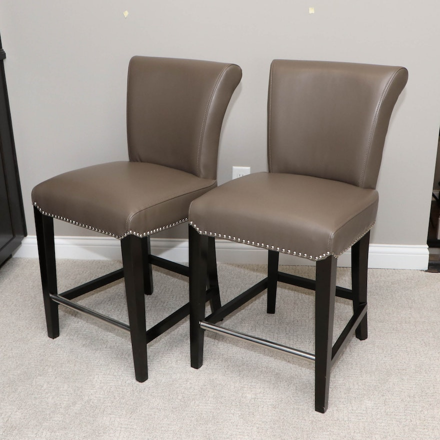 Pair of Safavieh Faux Leather Side Chairs with Nailhead Trim