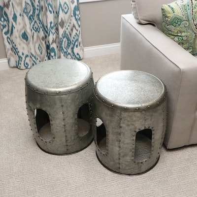 Pair of Galvanized Steel Drum Side Tables with Hammered Finish