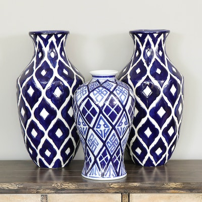 Blue and White Geometric Ceramic Vases, Contemporary