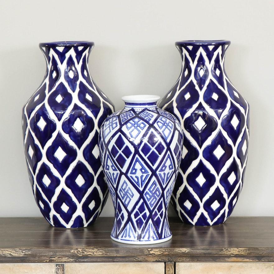 Blue and White Geometric Ceramic Vases, Contemporary