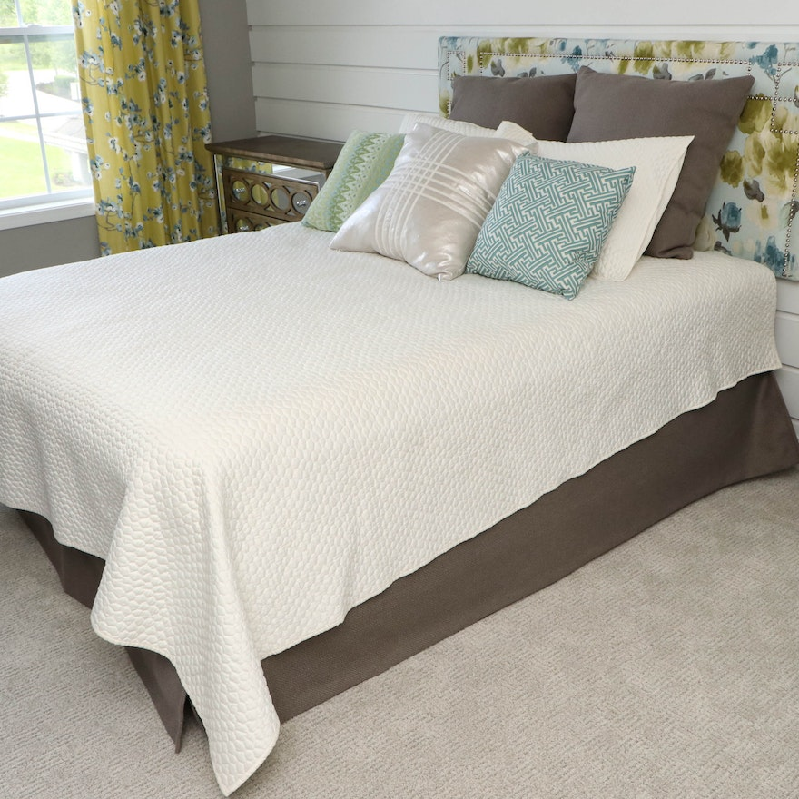 Floral Headboard and Queen Size Bed Frame with Marquis Pillow Top Mattress