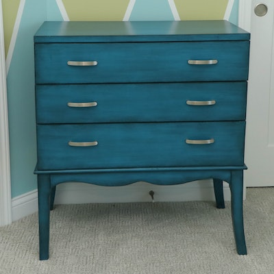 Contemporary Azure-Painted Wood Chest of Drawers