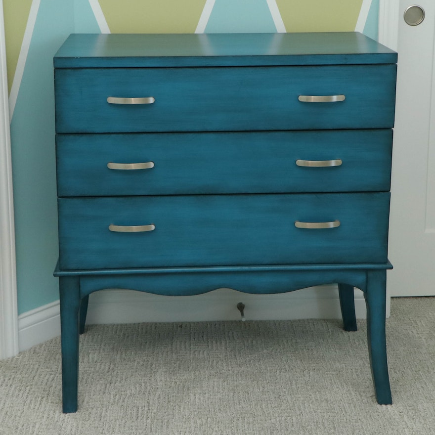 Azure-Painted Wooden Chest of Drawers