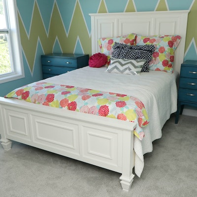 White Panel Wood Bedframe with Marquis Euro Top Mattress and Boxspring
