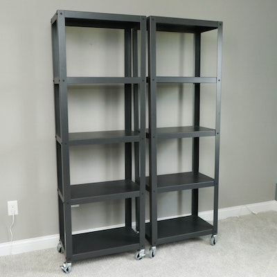 Pair of Industrial Style Metal Storage Shelves on Casters