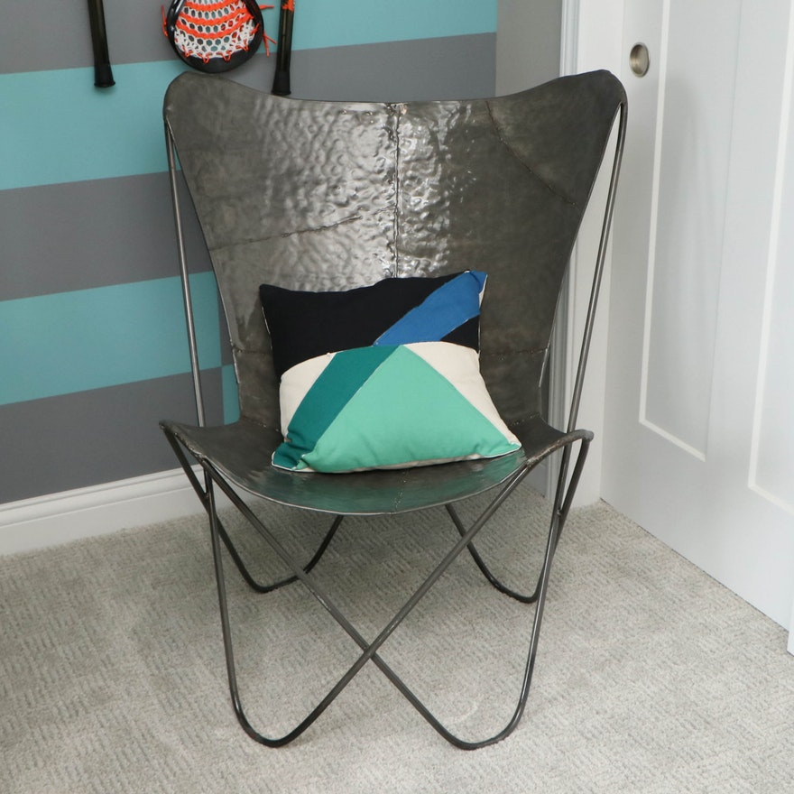 Contemporary Hammered Metal Butterfly Chair with Decorative Pillow