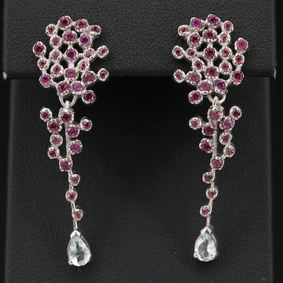 Sterling Aquamarine and Rhodolite Garnet Cluster Earrings