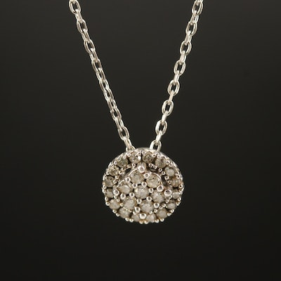 Sterling Diamond Cluster Pendant Necklace