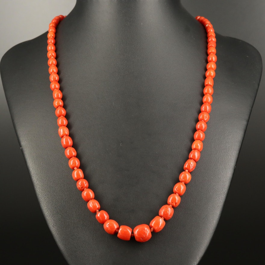 Hand Knotted Graduated Coral Necklace with 14K Clasp
