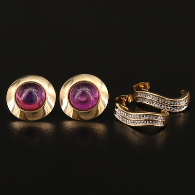 14K Amethyst Button Earrings with Diamond J-Hoop Earrings