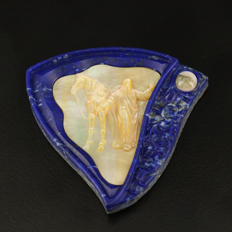 Carved Mother of Pearl and Lapis Lazuli Pendant