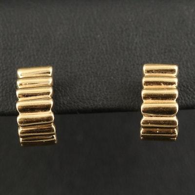 14K Rubbed Pattern J-Hoop Earrings