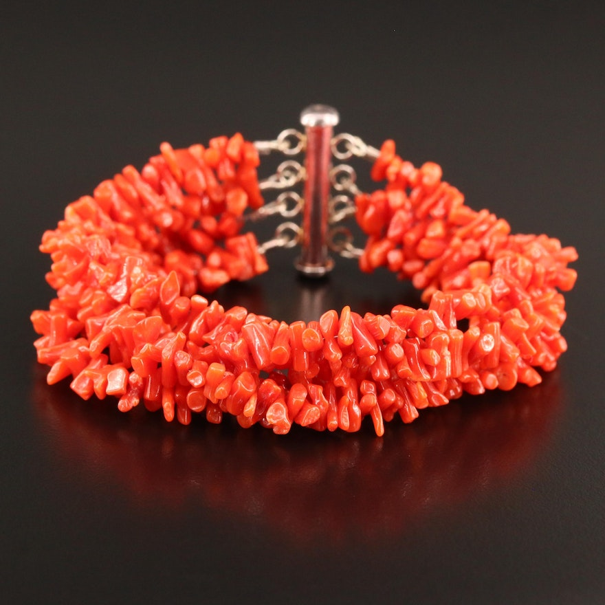 Coral Multi-Strand Bracelet with Sterling Clasp