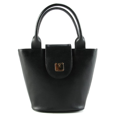 MCM Top Handle Bucket Bag in Black Leather