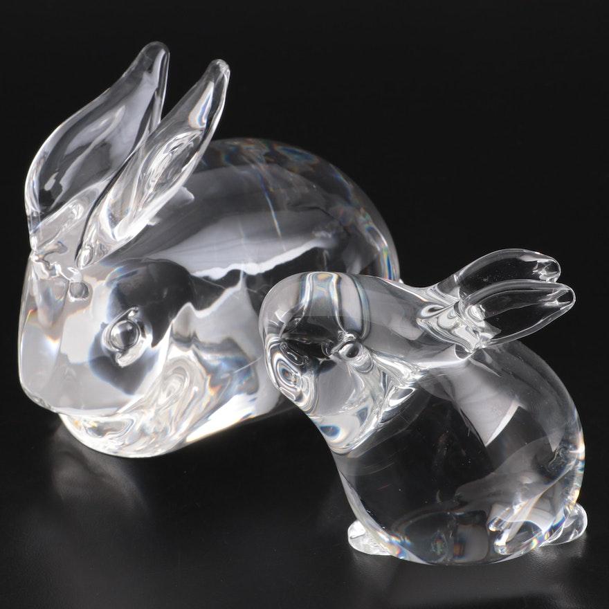 "Steuben Art Glass ""Rabbit"" and ""Bunny"" Figurines"