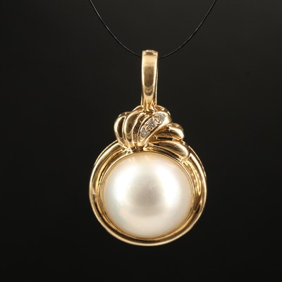 14K Mabé Pearl and Diamond Enhancer Pendant