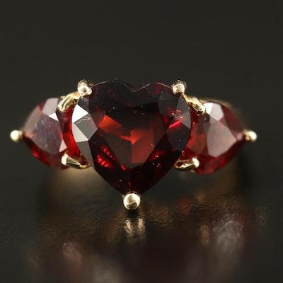 14K Garnet Three Stone Heart Ring