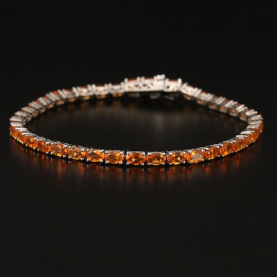 Sterling Silver Orange Glass Line Bracelet