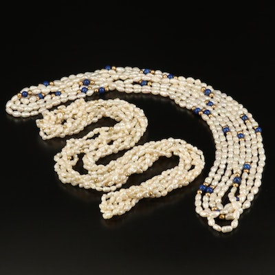 Rice Pearl and Lapis Lazuli Multi-Strand Necklaces with 14K Beads