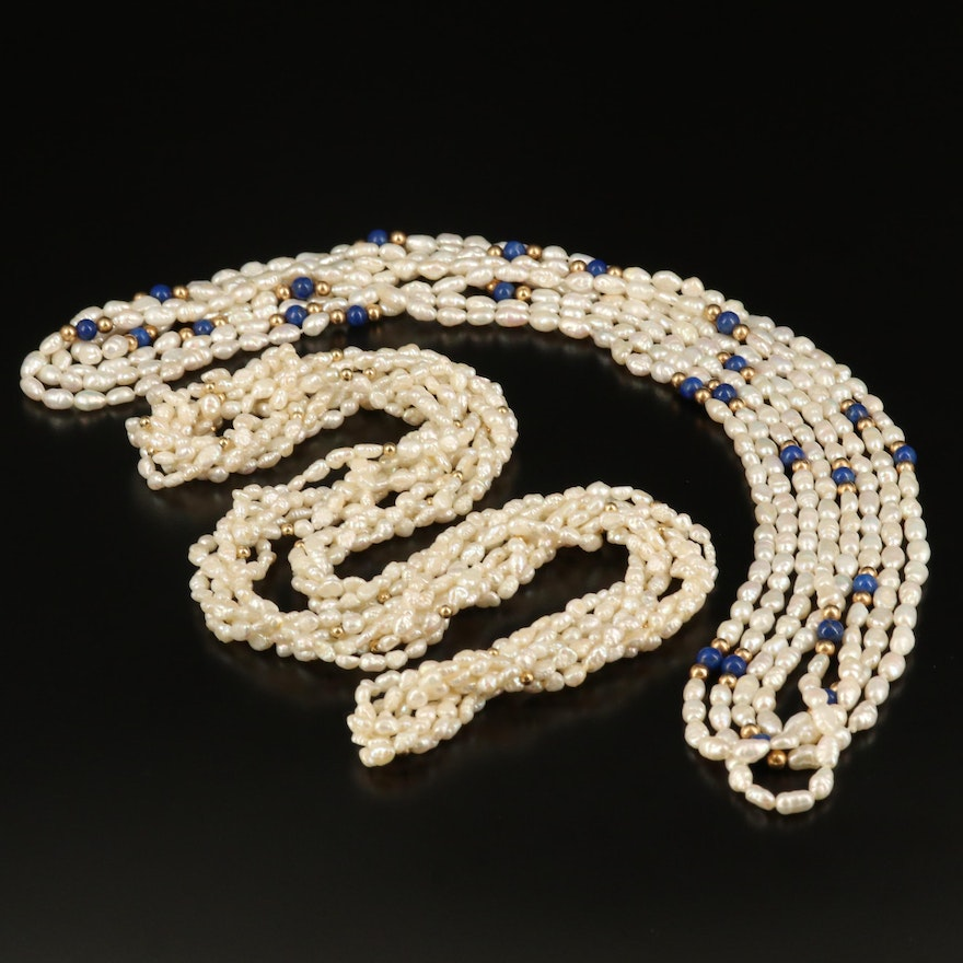Pearl and Lapis Lazuli Multi-Strand Necklaces with 14K Beads