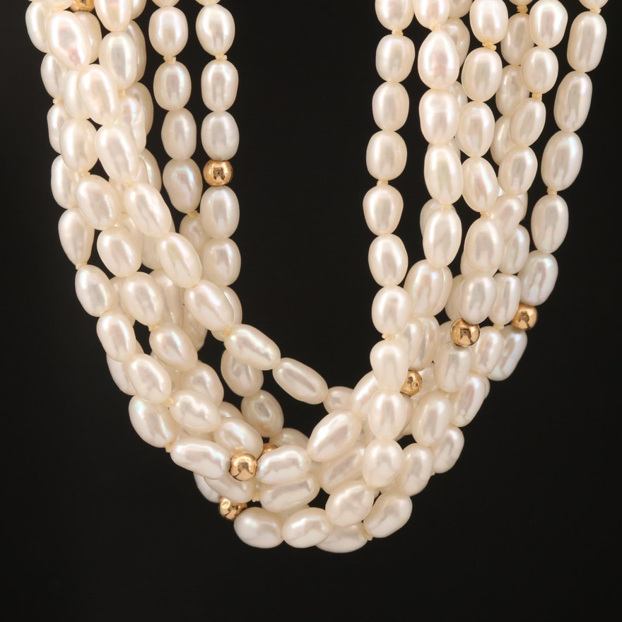 18K Pearl Torsade with Gold Bead Accents