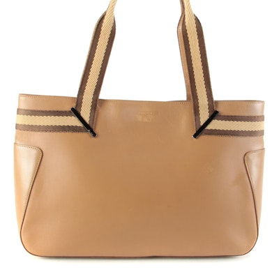 Gucci Sherry Line Tote Bag in Beige Leather