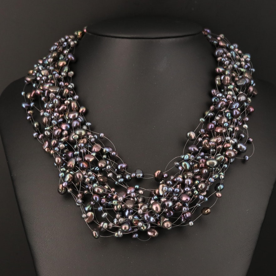 Multi-Strand Pearl Necklace with 14K Clasp