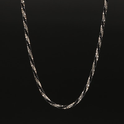 Sterling Silver Twisted Tinsel Chain Necklace