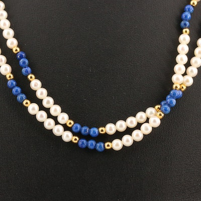 Pearl and Lapis Lazuli Beaded Necklace