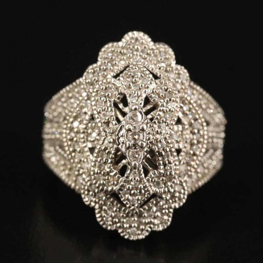 Sterling Diamond Openwork Ring