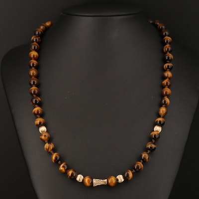 Tiger's Eye Necklace with 14K Clasp and Accent Beads