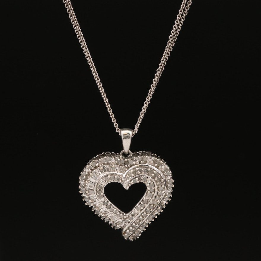 Sterling Silver Diamond Heart Pendant on Double Chain Necklace