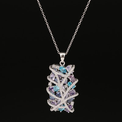 Sterling Silver Multi-Colored Cubic Zirconia Necklace