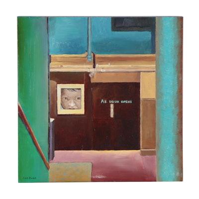 "Joel Barr Oil Painting ""Proceed as Door Opens,"" 21st Century"