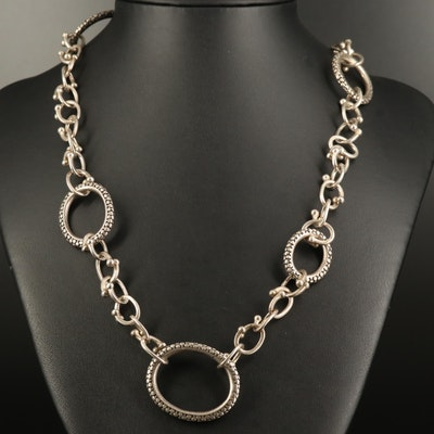 Michael Dawkins Sterling Silver Dot Oval Link Necklace