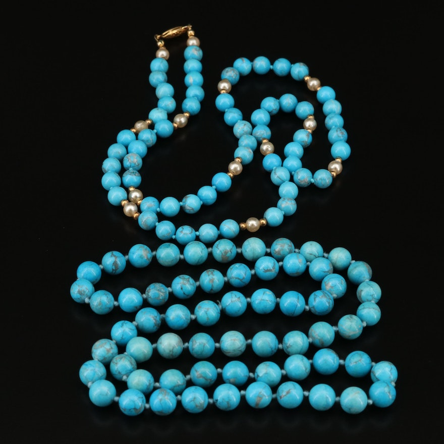 Beaded Howlite and Faux Pearl Necklaces