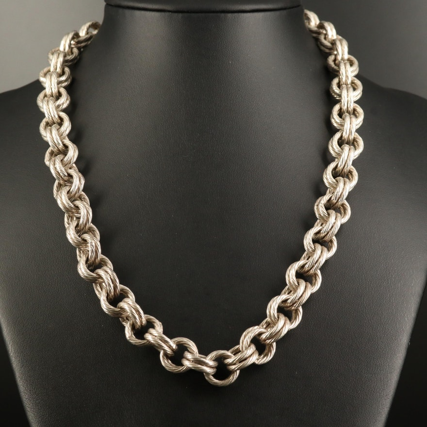 Sterling Silver Double Cable Link Necklace