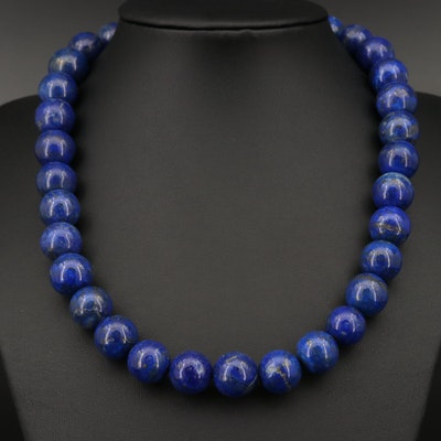 Single Strand Lapis Lazuli Beaded Necklace with Sterling Silver Clasp