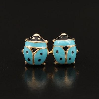 14K Enamel Ladybug Stud Earrings
