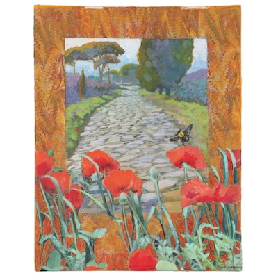"""Sheila Bonser Mixed Media Paper Collage """"Poppies and Bees,"""" 21st Century"""