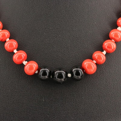 Graduated Red and Black Glass Beaded Necklace with 14K Clasp