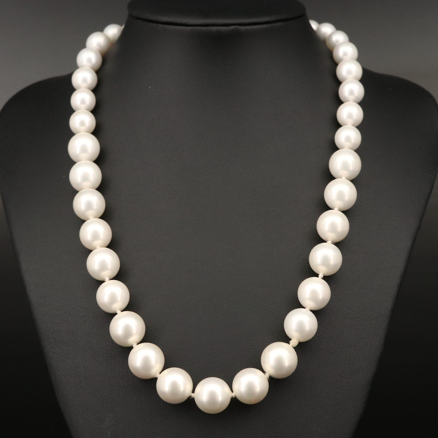 Graduated Imitation Pearl Necklace with 14K Clasp