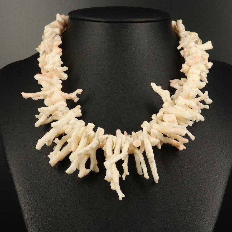 Coral Fringe Necklace